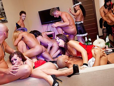 Halloween theme lovemaking party in total swing
