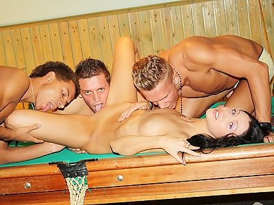 Dark-haired banged rock-hard on the pool table