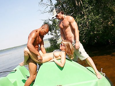 Titted platinum-blonde drilled firm in a boat