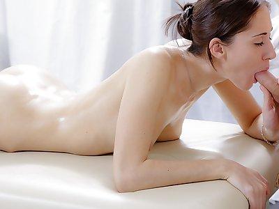 Xxx massage movie of ultra-cute dark-haired porked in the bum