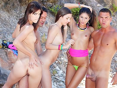Scorching college bi-otches go super-naughty on vacation